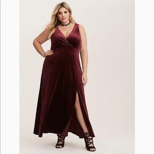 Torrid Velvet Slit Front maxi dress size 0